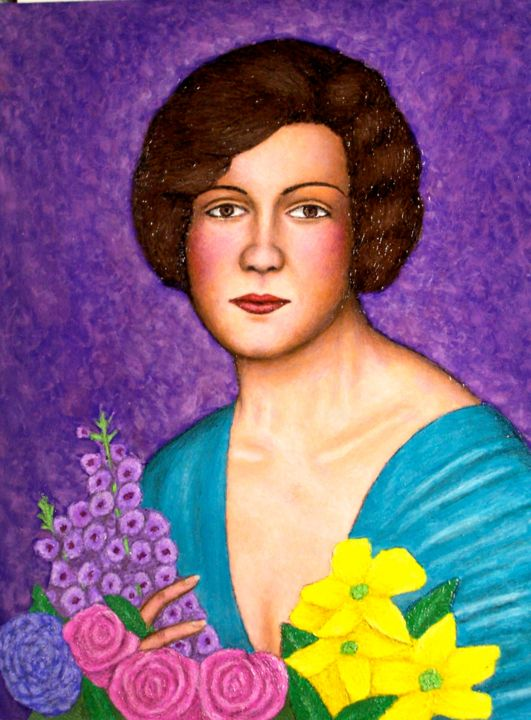 Gladys - Painting,  24x18 in, ©2006 by Stephen Warde Anderson -                                                                                                                                                                                                                      Naive Art, naive-art-948, Portraits, Women
