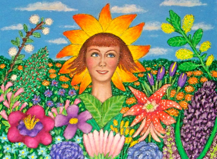 Flower Girl -- Lucinda - Painting,  12x16 in ©2015 by Stephen Warde Anderson -                                                                                    Naive Art, Other, Flower, Portraits, Women, flowers, feminine portrait