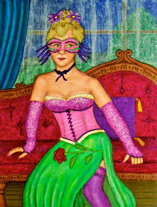 Masked Diva - Ingeborg - Painting,  28x22 in ©2011 by Stephen Warde Anderson -                                                                        Naive Art, Other, Portraits, Women, masked diva, carnival