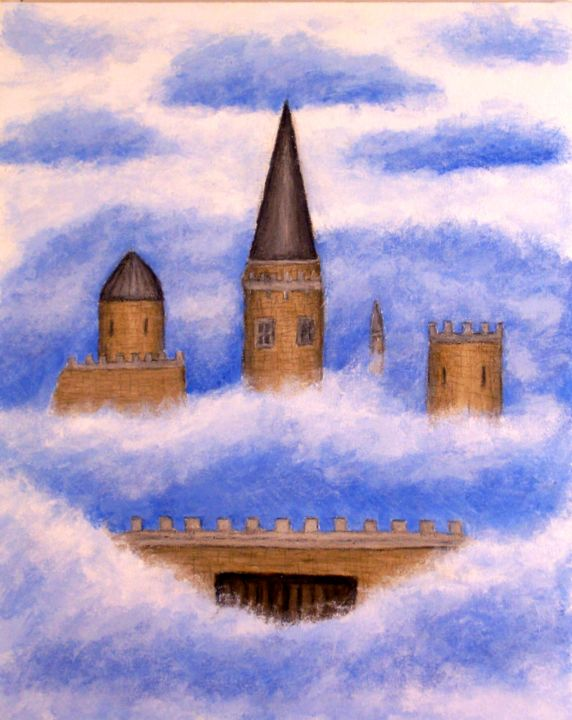 Castle in the Sky - Painting,  20x16 in ©2008 by Stephen Warde Anderson -                                                                        Naive Art, Canvas, Aerial, Architecture, castle, clouds