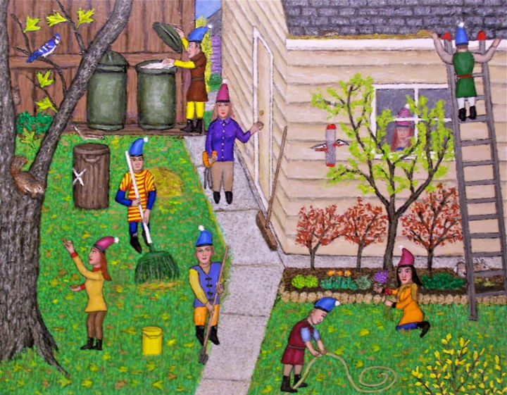 Brownies in the Backyard - Painting,  22x28 in ©2010 by Stephen Warde Anderson -                                                                                    Naive Art, Other, Fairytales, Fantasy, Home, brownies, yard work
