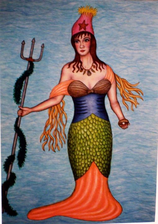 Marina - Painting,  30x22 in ©2000 by Stephen Warde Anderson -                                                                    Outsider Art, Other, Classical mythology, Fantasy