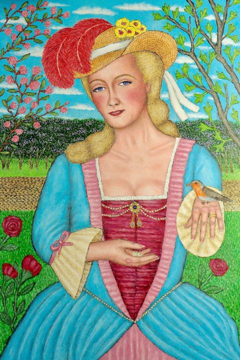 Madame du Barry - Painting,  36x24x2 in, ©2018 by Stephen Warde Anderson -                                                                                                                                                                                                                                                                                                                                                                                                              Outsider Art, outsider-art-1044, Other, History, Portraits, French history, royal mistress, 18th century