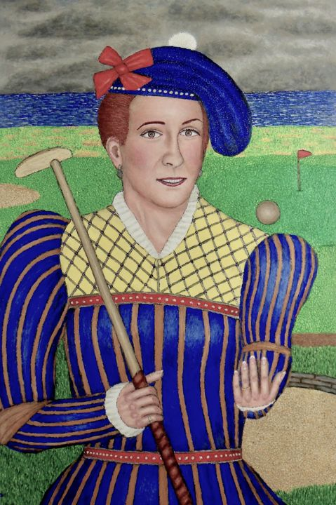 Mary Queen of Scots - Painting,  36x24x2 in, ©2019 by Stephen Warde Anderson -                                                                                                                                                                                                                                                                                                                                                                  Outsider Art, outsider-art-1044, Other, History, Portraits, scotland, mary queen of scots
