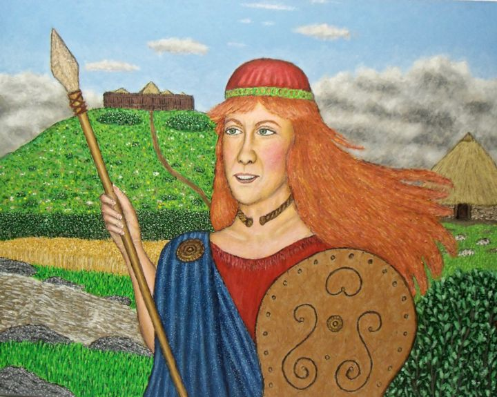 Boudica - Painting,  24x30x2 in, ©2018 by Stephen Warde Anderson -                                                                                                                                                                                                                                                                                                                                                                                                              Outsider Art, outsider-art-1044, Other, History, Portraits, ancient britons, warrior queen, british history