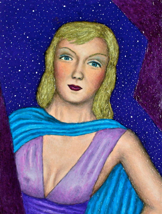 Rosanna - Painting,  16x12 in, ©2009 by Stephen Warde Anderson -                                                                                                                                                                                                                                                                      Outsider Art, outsider-art-1044, Other, Portraits, Women