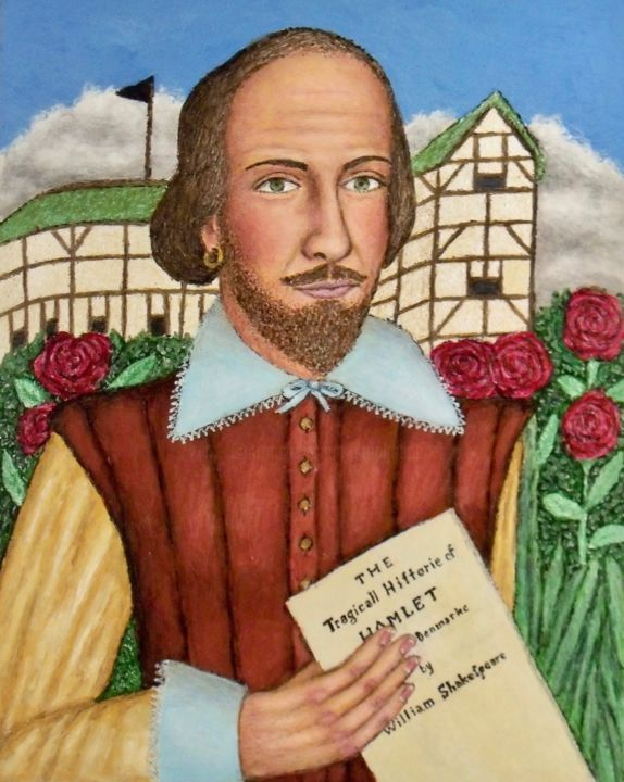 William Shakespeare - Painting,  20x16 in ©2019 by Stephen Warde Anderson -                                                                        Outsider Art, Other, History, Portraits, Shakespeare, playwright, Elizabethan