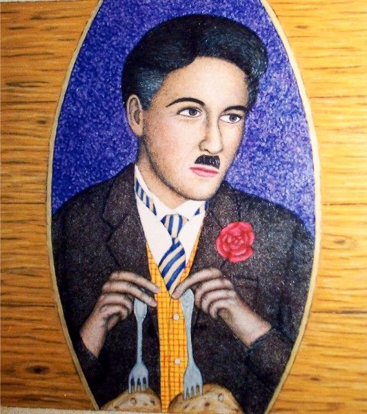 """Painting titled """"Charlie Chaplin"""" by Stephen Warde Anderson, Original Art, Acrylic Mounted on Wood Panel"""