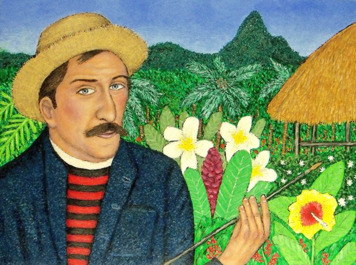 Paul Gauguin - Painting,  18x24 in, ©2019 by Stephen Warde Anderson -                                                                                                                                                                                                                                                                                                                      Outsider Art, outsider-art-1044, Other, Portraits, French artist, 19th Century artist