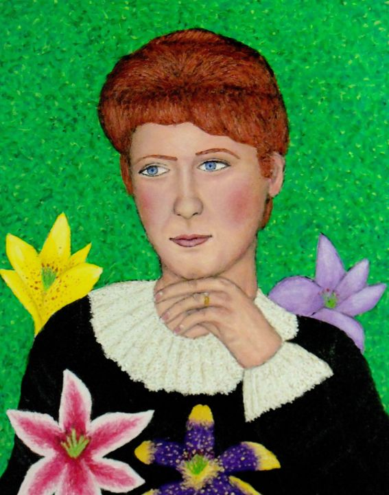 Lillie Langtry - Painting,  20x16 in ©2019 by Stephen Warde Anderson -                                                                                    Outsider Art, Other, History, Portraits, Women, Lillie Langtry, 19th century actress, mistress