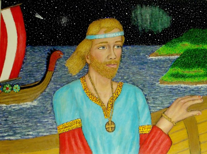 Leif Erikson - Painting,  18x24x0.8 in, ©2019 by Stephen Warde Anderson -                                                                                                                                                                                                                                                                                                                                                                                                              Outsider Art, outsider-art-1044, Other, History, Portraits, Sailboat, Norse, Viking