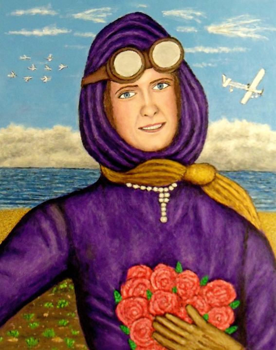 Harriet Quimby - Painting,  20x16 in ©2019 by Stephen Warde Anderson -                                                                        Outsider Art, Other, Aerial, Portraits, aviation, aviatrix, airplane, pilot
