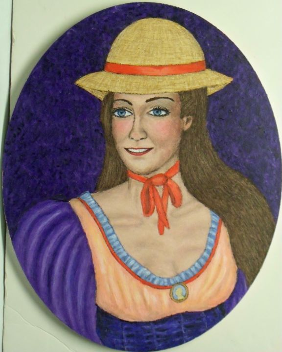 Susannah - Painting,  20x16x0.3 in, ©2019 by Stephen Warde Anderson -                                                                                                                                                                                                                          Outsider Art, outsider-art-1044, Portraits, straw hat
