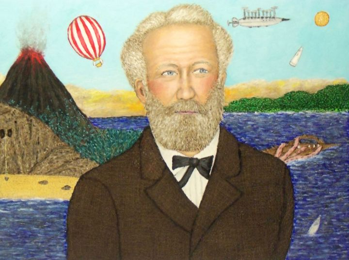 Jules Verne - Painting,  18x24x0.3 in, ©2019 by Stephen Warde Anderson -                                                                                                                                                                                                                                                                                                                                                                                                                                                      Outsider Art, outsider-art-1044, Celebrity, Fantasy, Portraits, Science-fiction, Jules Verne, French novelist, science fiction writer