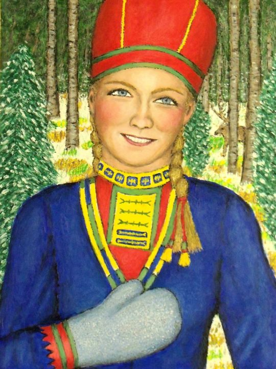 Sami Princess - Painting,  16x12x0.5 in, ©2019 by Stephen Warde Anderson -                                                                                                                                                                                                                                                                                                                                                              Outsider Art, outsider-art-1044, Portraits, World Culture, Sami, Lapp, folk costume