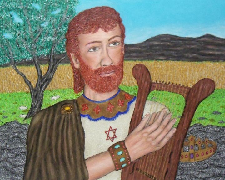 King David - Painting,  16x20x0.5 in, ©2020 by Stephen Warde Anderson -                                                                                                                                                                                                                                                                                                                                                                                                                                                                                                                                              Outsider Art, outsider-art-1044, History, Portraits, Religion, King David, Old Testament, Israel, Bible, Hebrews, Lyre