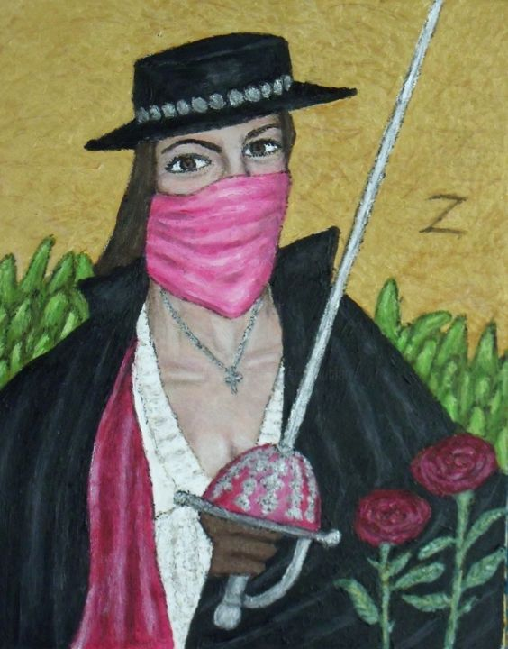 """Painting titled """"Lady Zorro"""" by Stephen Warde Anderson, Original Art, Acrylic Mounted on Other rigid panel"""