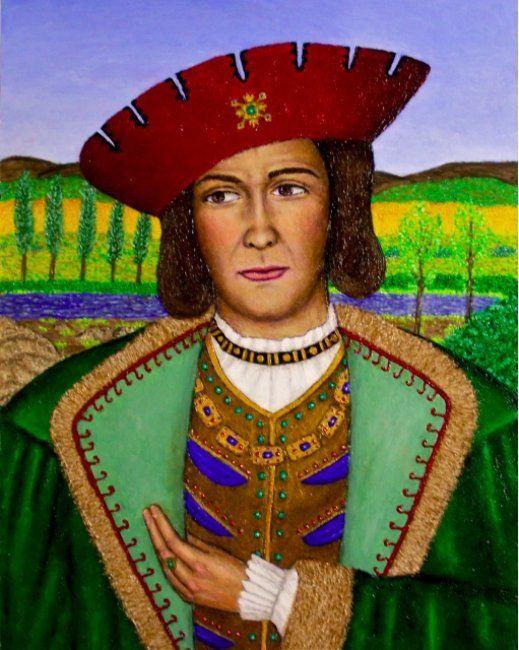 Giuseppe Orsini - Painting,  28x22 in ©2009 by Stephen Warde Anderson -                                                                        Naive Art, Other, History, Portraits, Renaissance Italy
