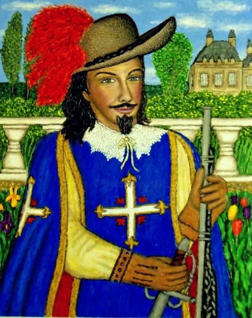 King's Musketeer - Painting,  20x16 in ©2010 by Stephen Warde Anderson -                                                                        Naive Art, Other, History, Portraits, musketeer, 17th Century France