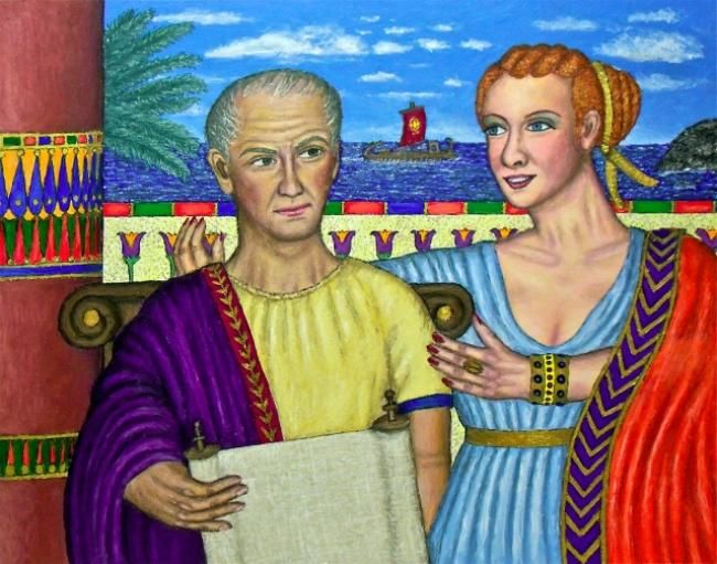 Caesar and Cleopatra - Painting,  22x28 in ©2011 by Stephen Warde Anderson -                                                                        Naive Art, Other, History, Portraits, Julius Caesar, Cleopatra, Egypt, Rome