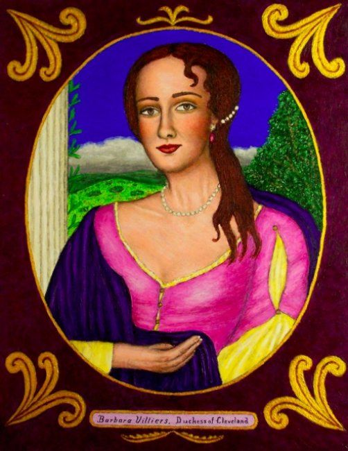 Barbara Villiers, Duchess of Cleveland - Painting,  28x22 in ©2008 by Stephen Warde Anderson -                                                                        Naive Art, Other, History, Portraits, Duchess of Cleveland, cavalier, Charles II, Lady Castlemain