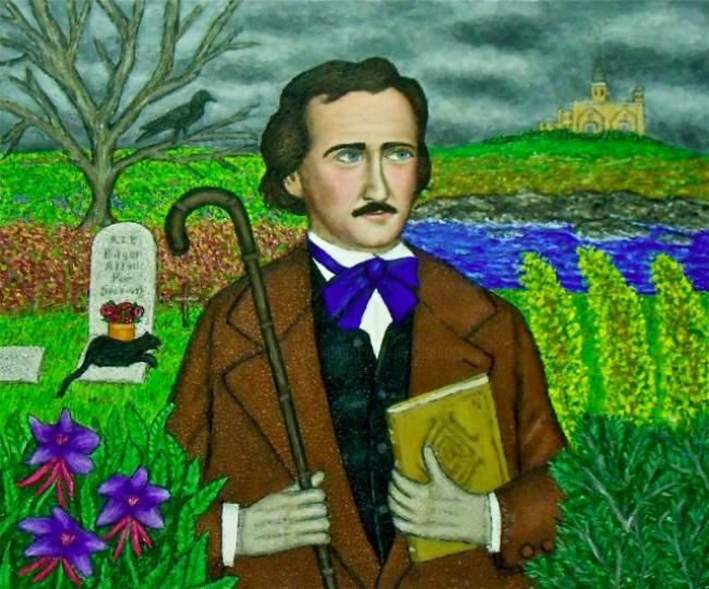 Edgar Allan Poe - Painting,  20x24 in, ©2012 by Stephen Warde Anderson -                                                                                                                                                                                                                                                                                                                      Naive Art, naive-art-948, Other, Portraits, Edgar Allan Poe, the Raven