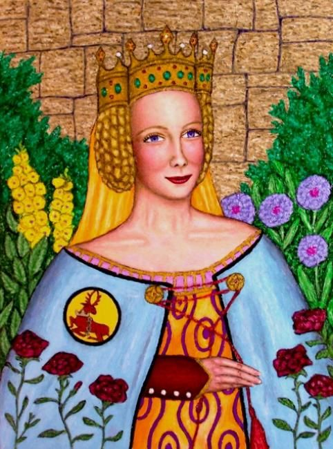 Joan, the Fair Maid of Kent - Painting,  24x18 in, ©2008 by Stephen Warde Anderson -                                                                                                                                                                                                                                                                                                                                                                                                              Naive Art, naive-art-948, Other, History, Portraits, Joan of Kent, Fair Maid of Kent, Black Prince