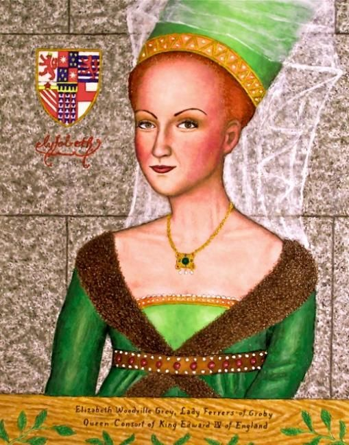 Queen Elizabeth Woodville - Painting,  28x22 in ©2008 by Stephen Warde Anderson -                                                                        Naive Art, Other, History, Portraits, Queen Elizabeth Woodville, King Edward IV, War of the Roses