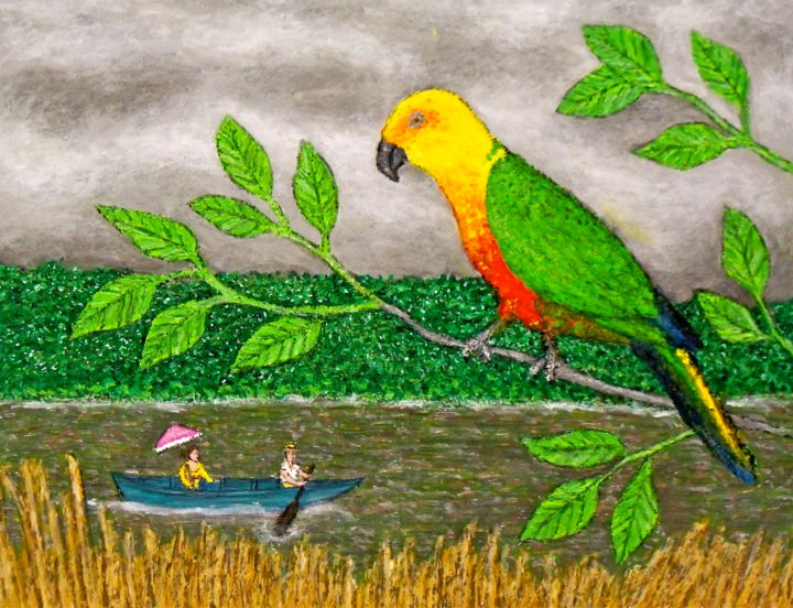 """Painting titled """"Sun Parakeet in Sur…"""" by Stephen Warde Anderson, Original Art, Acrylic Mounted on Other rigid panel"""