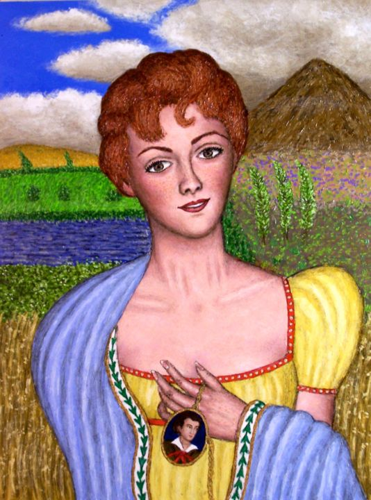 Portrait of Lady Caroline Ponsonby Lamb - Painting,  18x24 in ©2008 by Stephen Warde Anderson -                                                            Naive Art, Other, Portraits, Caroline Lamb, Lord Byron