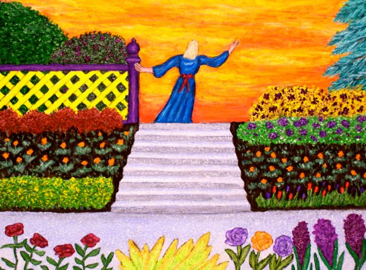 """Painting titled """"Beyond the Garden"""" by Stephen Warde Anderson, Original Art, Acrylic"""