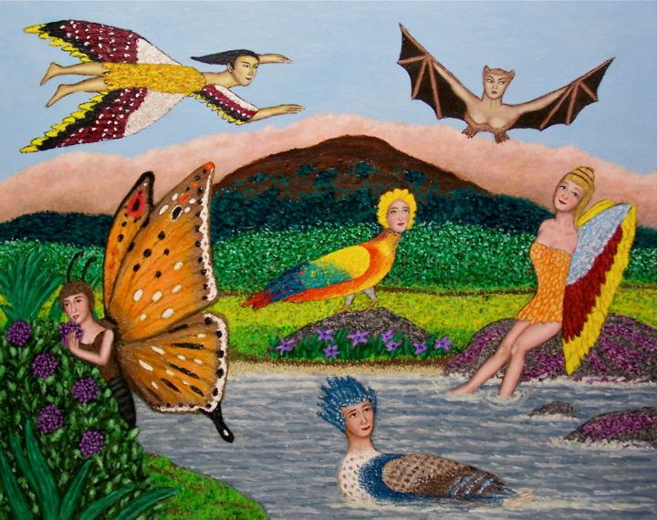 Isle of Winged Women - Painting,  30x24 in ©2009 by Stephen Warde Anderson -                                                                    Naive Art, Other, Birds, Fantasy