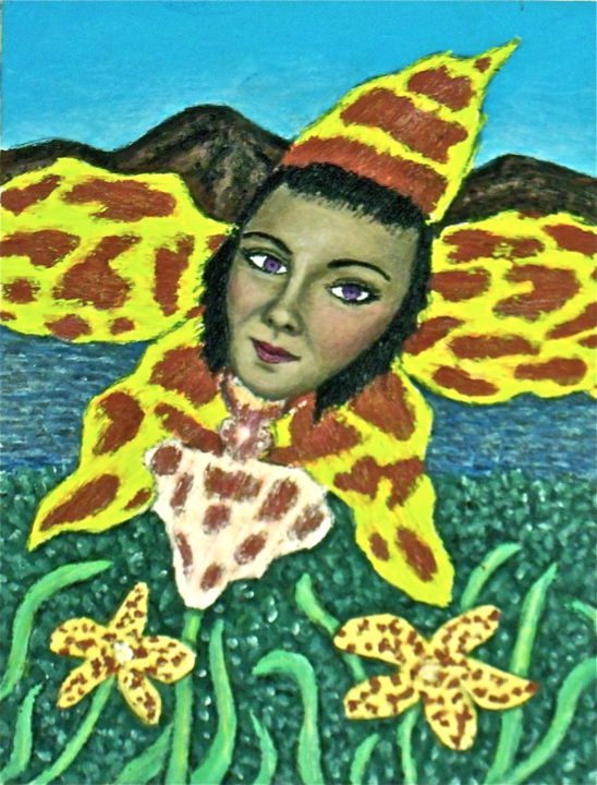 Tiger Orchid Girl - Painting,  8.5x11 in ©2012 by Stephen Warde Anderson -                                                            Naive Art, Other, Flower, orchid