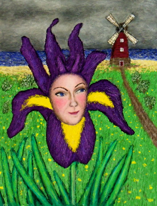 Dutch Iris Girl - Painting,  8x11 in ©2012 by Stephen Warde Anderson -                                                            Naive Art, Other, Flower, iris