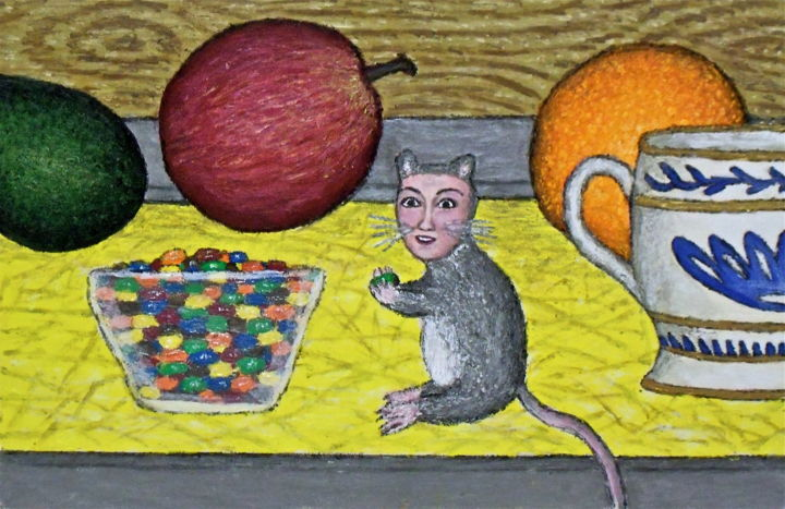Dona the Deer Mouse -- Sneaks a Snack - Painting,  12x8 in ©2012 by Stephen Warde Anderson -                                                                        Naive Art, Other, Animals, Fantasy, deer mouse