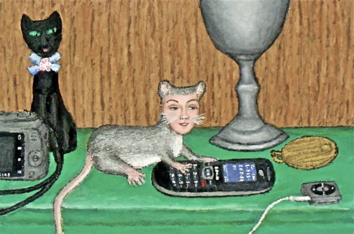Dona the Deer Mouse -- On the Cellphone - Painting,  12x8 in ©2012 by Stephen Warde Anderson -                                                                        Naive Art, Other, Animals, Fantasy, deer mouse