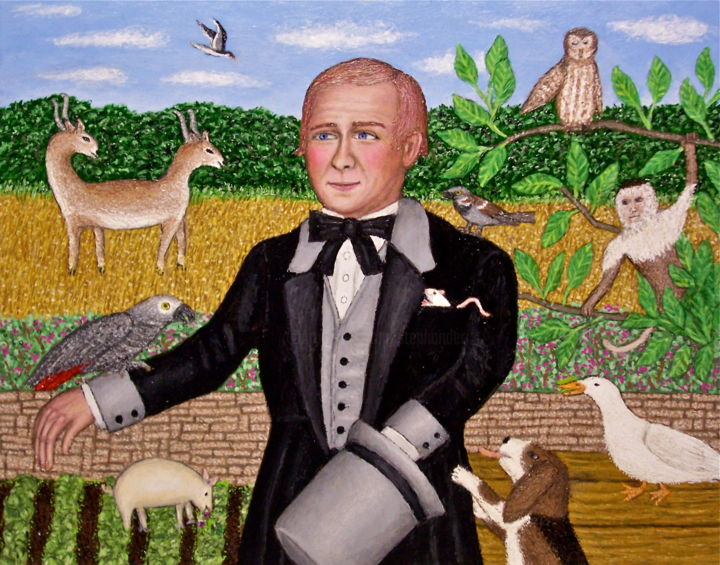 Doctor Dolittle and His Friends - Painting,  22x28 in, ©2009 by Stephen Warde Anderson -                                                                                                                                                                                                                                                                          Naive Art, naive-art-948, Other, Animals, Dr.Dolittle