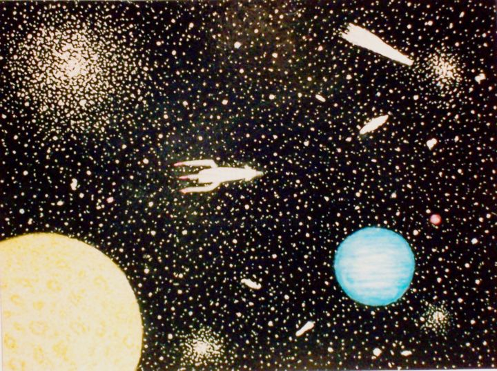 Space Scene - Painting,  16x12 in ©2003 by Stephen Warde Anderson -                                                            Naive Art, Other, Outer Space, space travel, planets