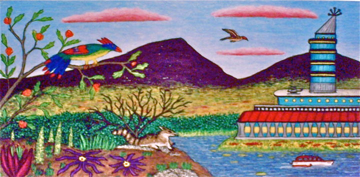 Alien Landscape - Painting,  24x12 in ©2003 by Stephen Warde Anderson -                                                            Naive Art, Other, Outer Space, alien planet