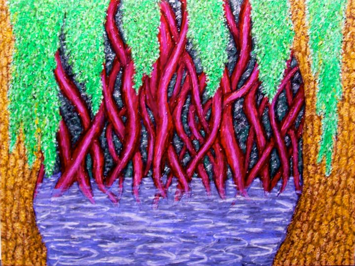 Bayou - Painting,  24x18 in ©2005 by Stephen Warde Anderson -                                                            Naive Art, Other, Landscape, bayou