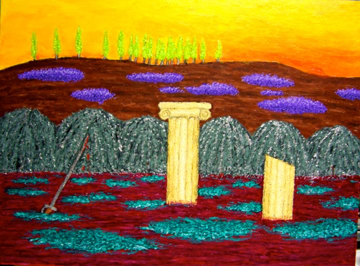 Demise of Civilization - Painting,  24x18 in ©2005 by Stephen Warde Anderson -                                                            Naive Art, Other, Landscape, civilization, end of the world