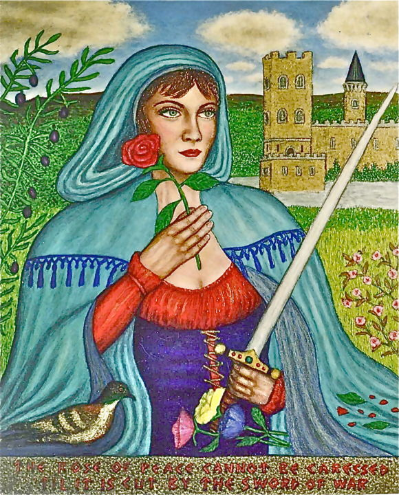 Rose and the Sword - Painting,  20x24 in ©2003 by Stephen Warde Anderson -                                                                                    Naive Art, Other, Flower, Portraits, Women, sword, rose