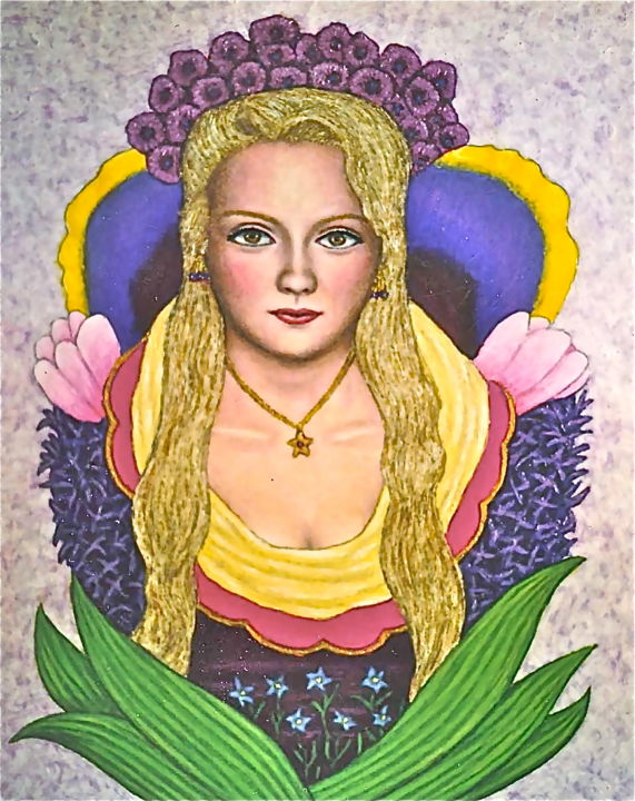 Katrina -- Flower Girl - Painting,  16x20 in ©2003 by Stephen Warde Anderson -                                                                                    Naive Art, Other, Flower, Portraits, Women, flowers