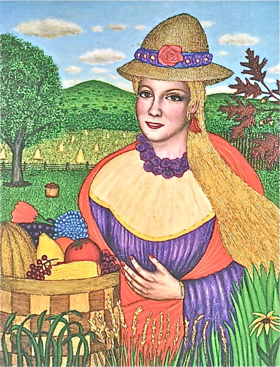 Cartesia -- Harvest Goddess - Painting,  22x28 in ©2003 by Stephen Warde Anderson -                                                                                    Naive Art, Other, Botanic, Portraits, Women, harvest