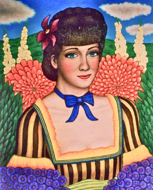 Adela -- Flower Girl - Painting,  11.8x9.5 in, ©2003 by Stephen Warde Anderson -                                                                                                                                                                                                                                                                                                                                                                  Naive Art, naive-art-948, Other, Flower, Portraits, Women, flowers