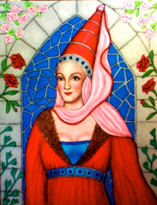 Lady Malvina - Painting,  14x18 in ©2004 by Stephen Warde Anderson -                                                                        Naive Art, Other, Portraits, Women, medieval woman