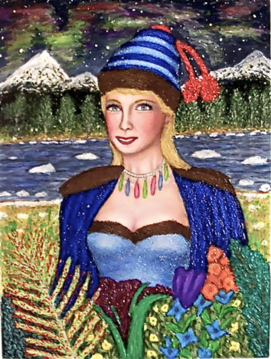Miss Northern Lights - Painting,  12x16 in ©2005 by Stephen Warde Anderson -                                                                        Naive Art, Other, Portraits, Women, aurora borealis