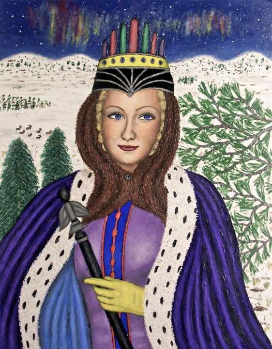 Queen of the North - Painting,  28x22 in, ©2009 by Stephen Warde Anderson -                                                                                                                                                                                                                                                                                                                      Naive Art, naive-art-948, Other, Portraits, Women, feminine portrait