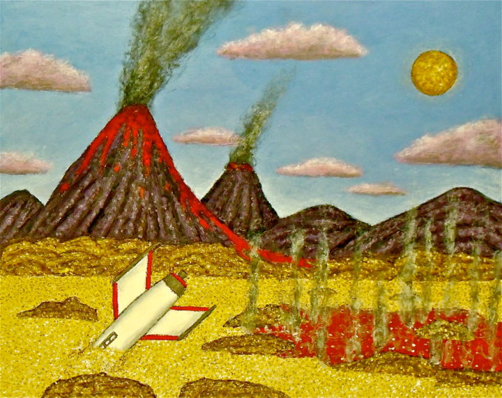 Crash on a Volcanic Planet - Painting,  16x20 in ©2015 by Stephen Warde Anderson -                                                                                                Naive Art, Other, Fantasy, Landscape, Outer Space, Science-fiction, outer space, alien planet