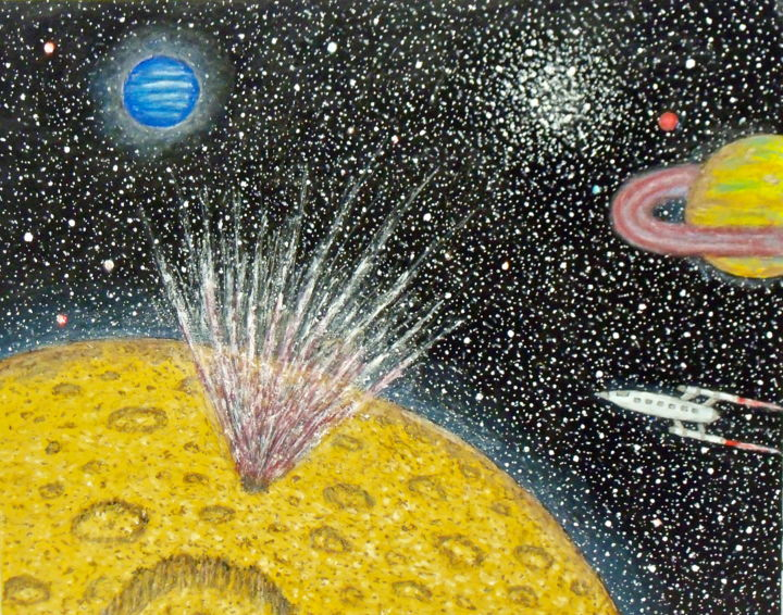 Meteor Strike - Painting,  20x16 in ©2015 by Stephen Warde Anderson -                                                                                    Naive Art, Paper, Fantasy, Outer Space, Science-fiction, meteor, alien planet